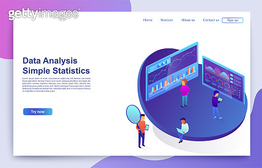 Team of people interacts with graphs and charts analyzing statistics. Concept of visual data, digital marketing.