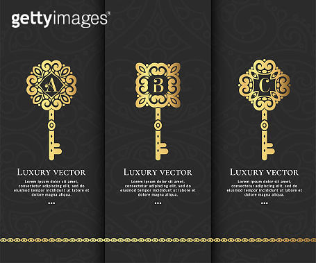 Set of luxury golden keys. Elegant, classic elements. Can be used for jewelry, beauty and fashion industry. Great for logo, monogram, invitation, flyer, menu, brochure, background, or any idea.