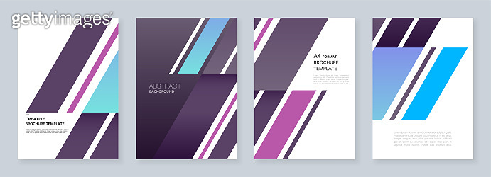 Minimal brochure templates. Abstract background with dynamic diagonal form shapes in minimalistic style. Templates for flyer, leaflet, brochure, report, presentation, advertising.