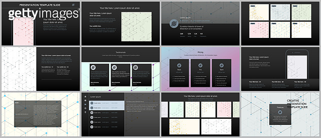 Minimal presentations, portfolio templates. Presentation slides for flyer, leaflet, brochure, report. Line art pattern with connecting lines. Geometric background. Technology, digital network concept.