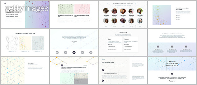 Minimal presentations, portfolio templates. Presentation slides for flyer, brochure, report. Line art pattern with connecting lines. Abstract geometric background. Technology, digital network concept.