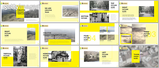 Clean and minimal presentation templates. Yellow elements on a white background. Brochure cover vector design. Presentation slides for flyer, leaflet, brochure, report, marketing, advertising, banner