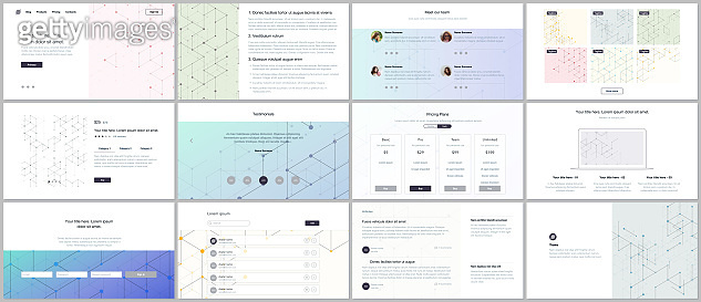 Vector templates for website design, minimal presentations, portfolio. UI, UX, GUI. Line art pattern with connecting lines. Abstract geometric graphic background. Technology, digital network concept.