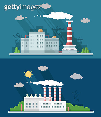 Set digital vector blue factory pollution icons with drawn simple line art info graphic, presentation with plant, smoke, environment and energy elements around promo template, flat style illustration