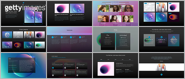 Minimal presentations, portfolio templates with colorful gradient blurs and geometric backgrounds. Brochure cover vector design. Presentation slides for flyer, leaflet, brochure, report, advertising.
