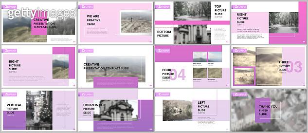 Clean and minimal presentation templates. Pink color elements on white background. Brochure cover vector design. Presentation slides for flyer, leaflet, brochure, report, marketing, advertising, banner