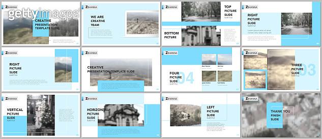 Clean and minimal presentation templates. Blue elements on a white background. Brochure cover vector design. Presentation slides for flyer, leaflet, brochure, report, marketing, advertising, banner