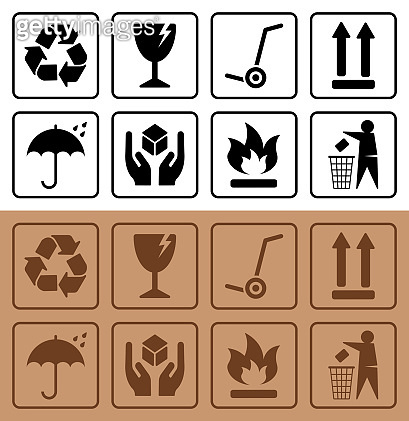 Packaging symbols and Cardboard Box Icons