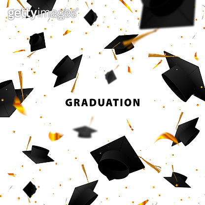 Graduate caps and confetti on a white background. The caps come out from the side. Typography greeting, invitation card with diplomas. Hat.