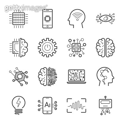 Internet of Things IOT , Artificial Intelligence AI , Innovative Smart Cyber Security Digital Information Technologies IT Vector Icon Set. Industry 4.0. EPS 10