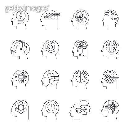 AI icons set. Artificial Intelligence icons set. Editable Stroke