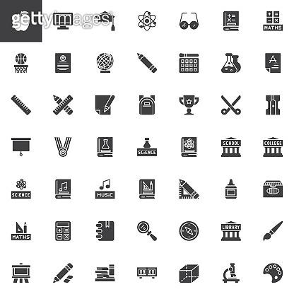 Education elements vector icons set