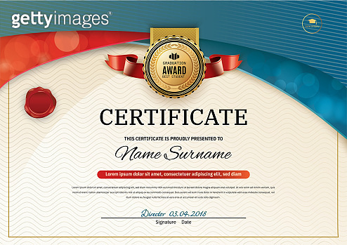 Official certificate with red turquoise wave design elements. Red ribbon and gold emblem. Vintage modern blank