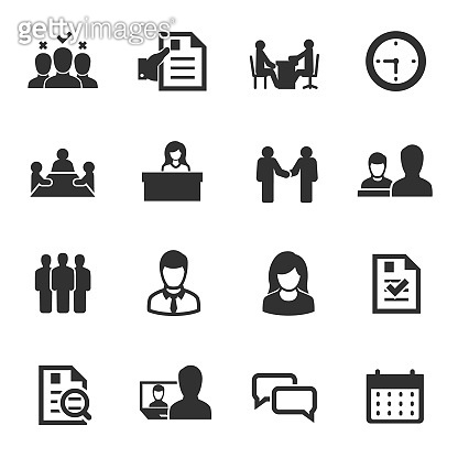 job interview, icons set. choice of employee.