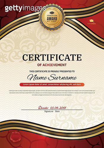 Official certificate with red gold wave design elements. Red ribbon, gold emblem.