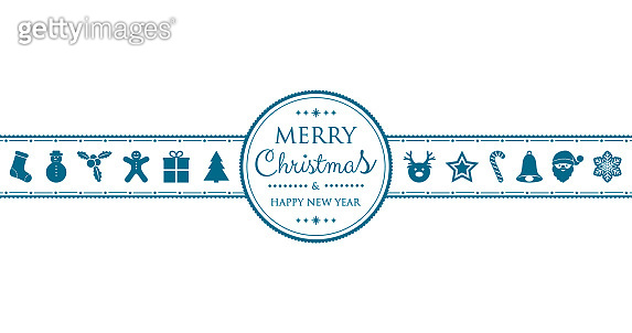 Concept of Christmas card with decorations and wishes. Vector.