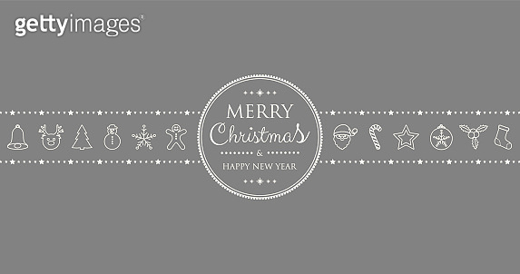 Concept of Concept of Christmas card with hand drawn decorations. Vector.