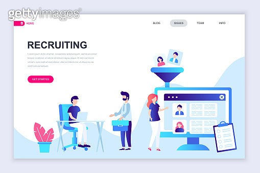 Modern flat web page design template of Recruiting decorated people character