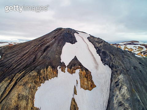 Scenic view of snowy mountain range against sky