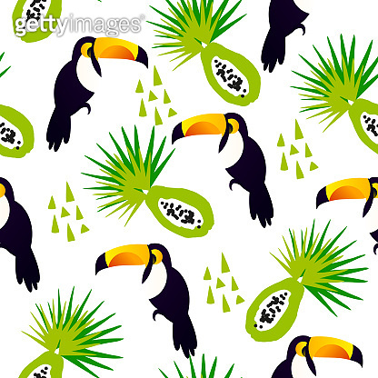 Abstract summer pattern with cute toucan, papaya and triangles on white background. Ornament for textile and wrapping. Vector.