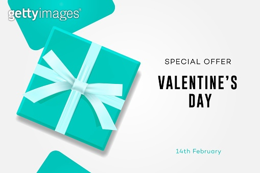 Happy Valentines day sale, symbol of love, sweet blue gift box, greeting card, vector illustration.
