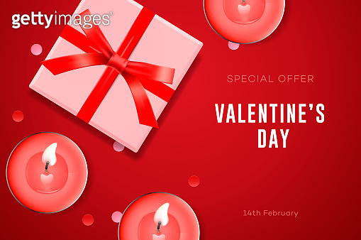 Valentine's day special offer, poster with gift box, candles and confetti. Vector illustration.