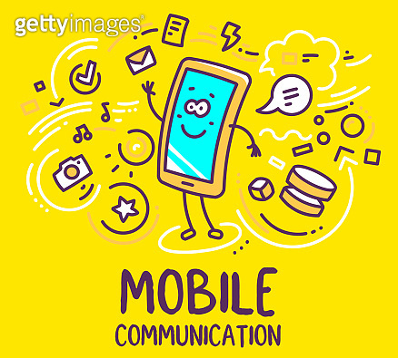 Vector illustration of smile character phone waving a greeting with icon cloud on yellow background with text.