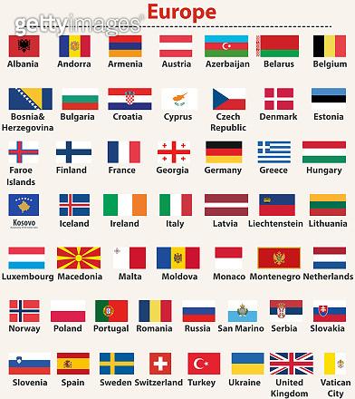 vector set of european flags arranged in alphabetical order