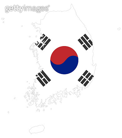 Background of south  Korea map and flag