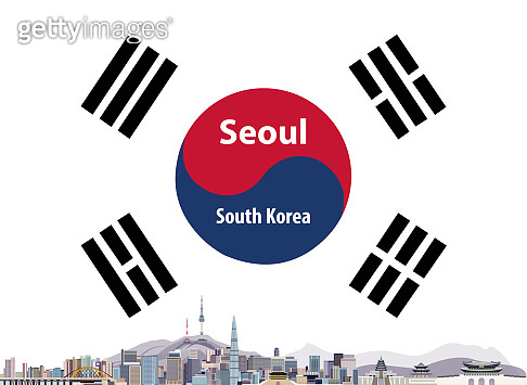 vector abstract travel card with flag of Soth Korea and Seoul cityscape