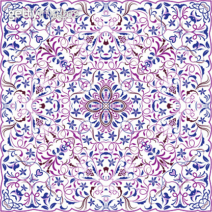 Square pattern for the silk scarf