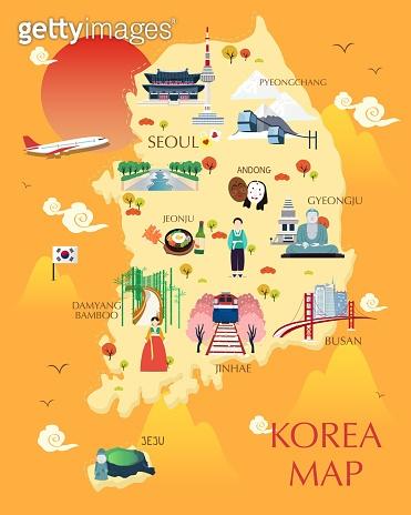 Traveling to korea by landmrks icon map illustration