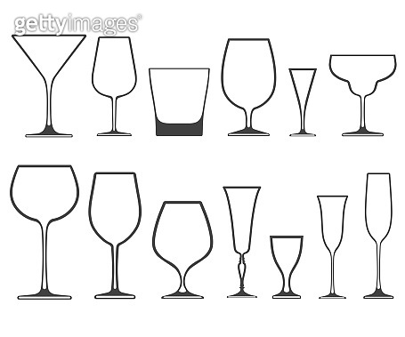 44ccc4b6602 Empty wineglasses and glasses of different shapes with no filling isolated  on white background. Vector · Set of vector icons ...