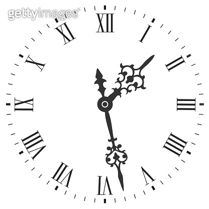 Elegant clock face with roman numerals and tick marks placed on a white. Vector illustration.