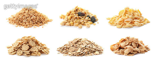 Set with breakfast cereals on white background. Healthy whole grain recipe