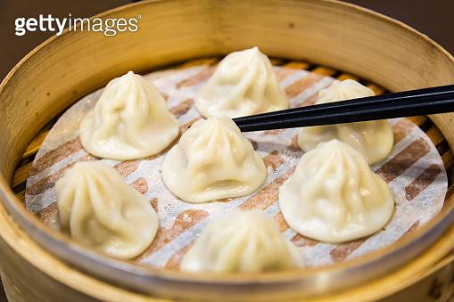 Chinese steamed dumplings in a steamer
