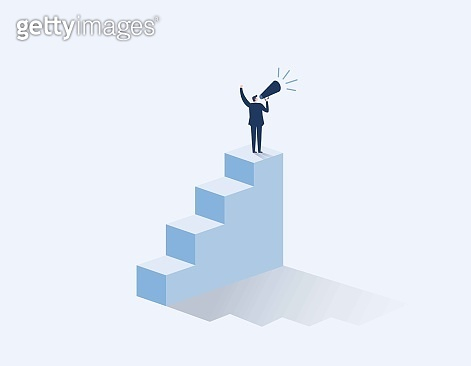 Businessman with megaphone on steps. inequality in business vector concept. man rights, equal pay. Vector flat cartoon character design illustration.
