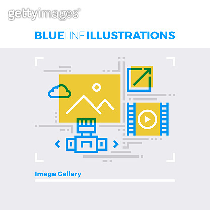 Image Gallery Blue Line Illustration