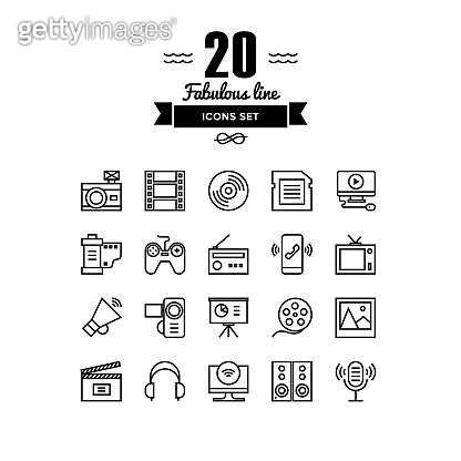 Multimedia objects line icons set