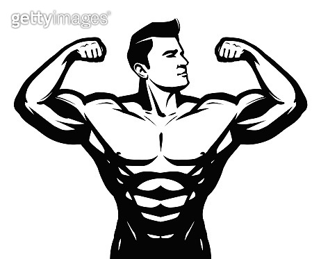 Gym, sport, bodybuilding icon or label. Strong man with big muscles. Vector illustration