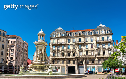 Fountain at Place des Jacobins in Lyon, France