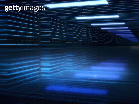 Long dark corridor interior with  light glow. 3D rendering