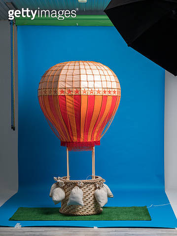Studio Props Hot-air Balloon on Blue Background