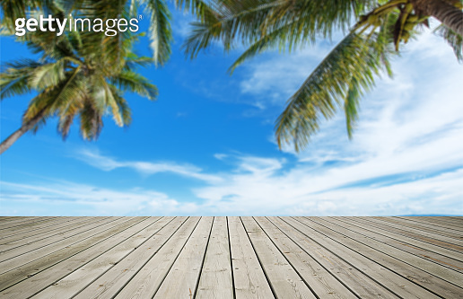 Wooden Terrace And Tropical Background