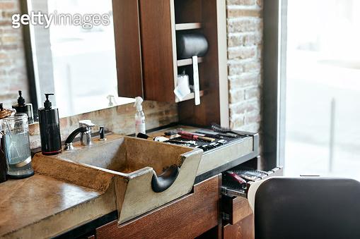 Barber Shop Interior. Men Beauty Hair Salon Sink