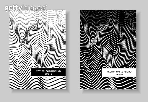 Black and white covers set. Abstract line art gradient pattern. Waving squiggle lines. Minimal futuristic layout. Two vector templates A4 for book, booklet, brochure, catalog, portfolio. EPS 10 illustration