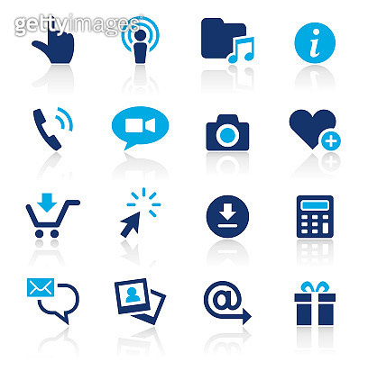 Smart Phone Apps Two Color Icons Set