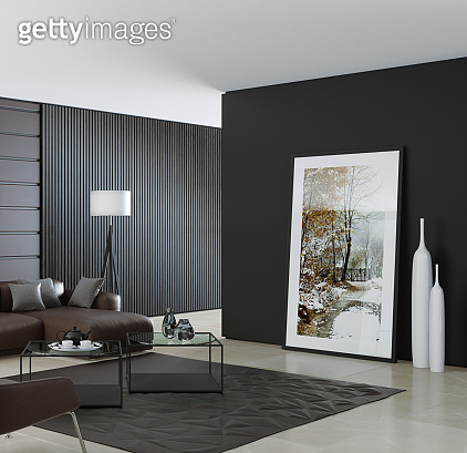 Contemporary dark minimalist living room interior with leather brown sofa