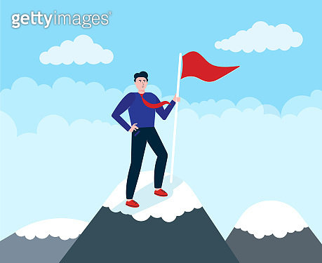 Businessman climb on the top of mountain, leader achieve the goal with his efforts. Business concept of leadership and teamwork.