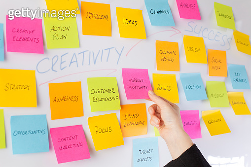 Whiteboard covered with adhesive note papers